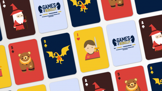 Finally, they designed a  Games of Berkeley–themed deck of playing cards with icons representating the variety of games and activities at the store.