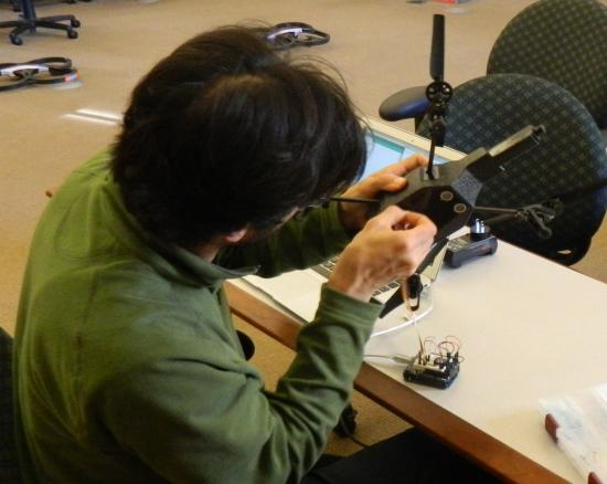 Students are experimenting with adding custom sensors to the drones.