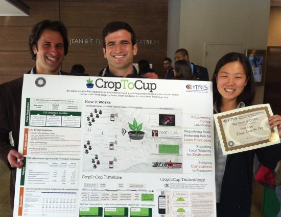 """From Crop to Cup"" at the Big Ideas competition: Seth Garz, Ariel Chait (MIMS 2012), & Iris Shim (l to r; photo: Julie Garz)"
