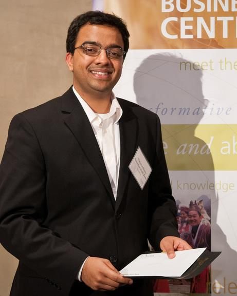 Thejo Kote (MIMS '11) accepted the prize <br>(photo: Paul Gibson/Foster School of Business)