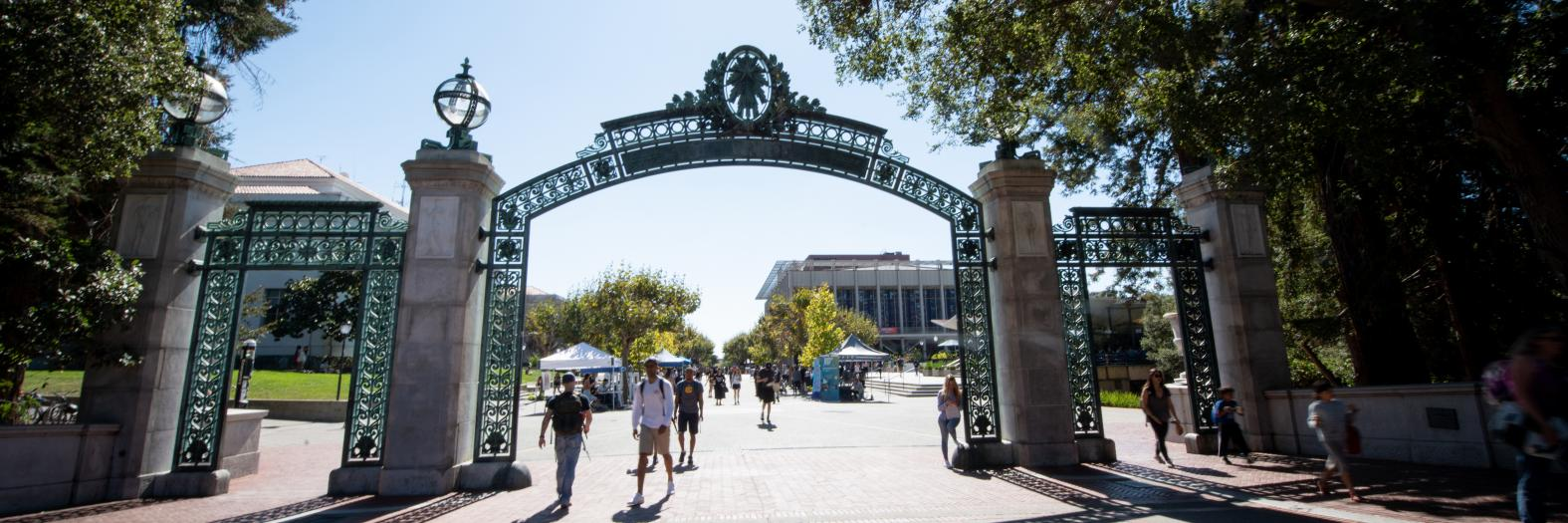campus scene at Sather Gate
