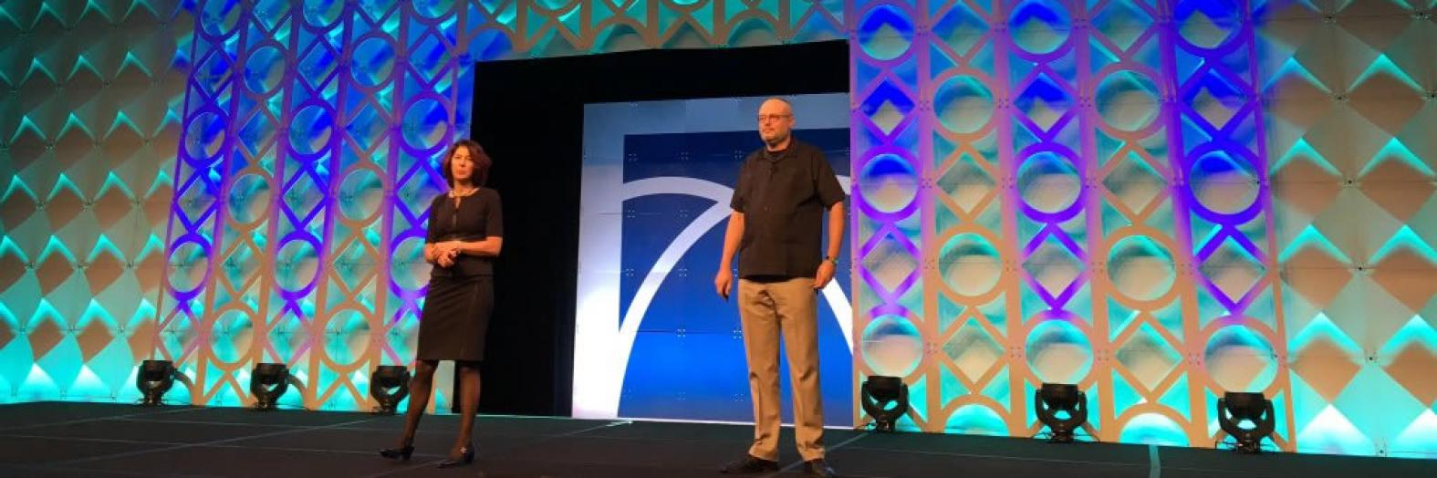 Deirdre Mulligan and Kenneth A. Bamberger deliver the keynote at the Global Privacy Summit (photo courtesy of IAPP)