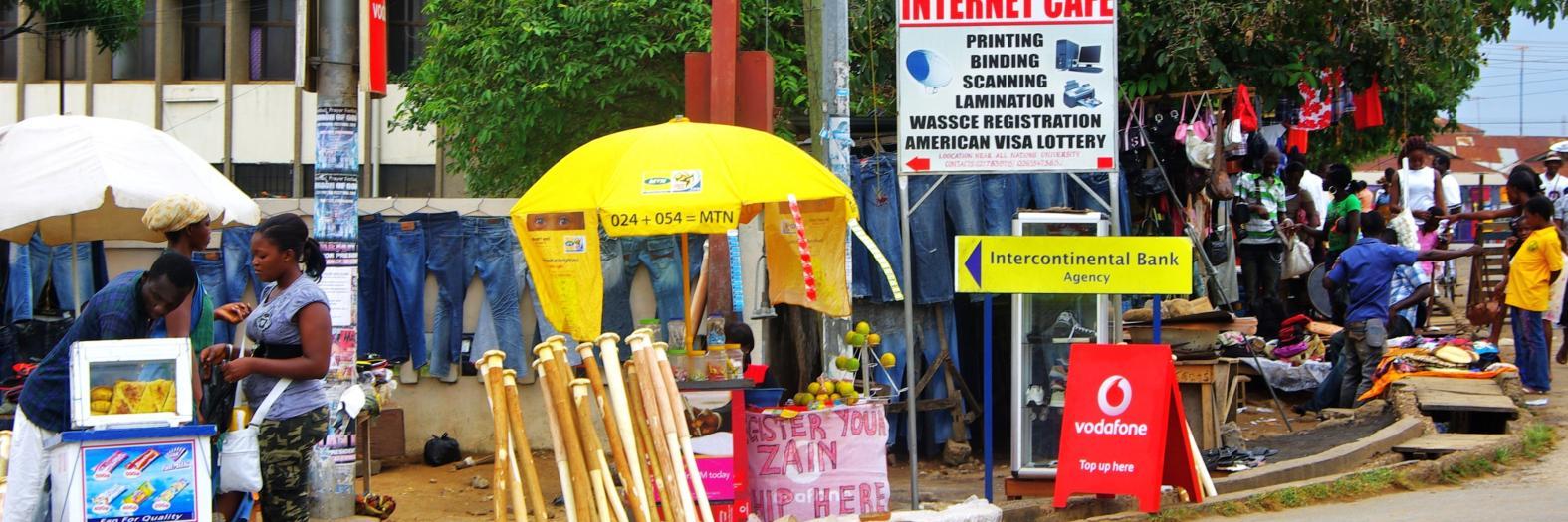 "An Internet café in urban Ghana <a href=""http://flic.kr/p/8uL3pC"">(photo: Alan Lew, 2010</a>)"