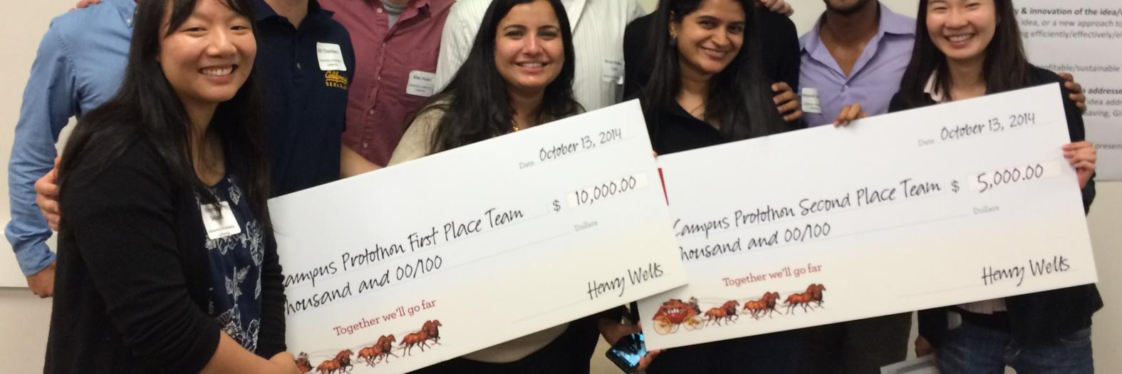 Two I School teams won $10,000 & $5,000 for their ideas to help millennials improve their financial health.