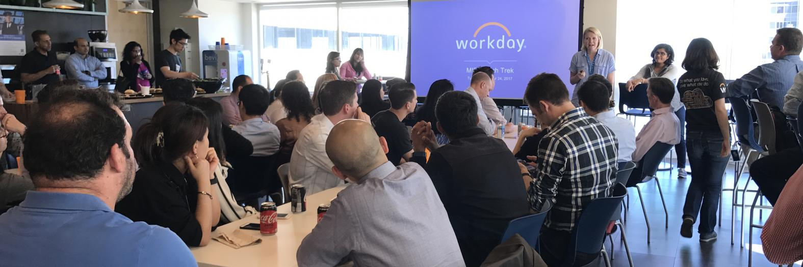 MIDS graduate students visiting the Workday data science team at the office in San Francisco from the 2017 Immersion Tech Treks