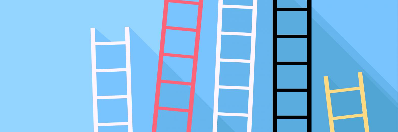Colorful ladders in front of blue backgroun