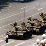 A Chinese man stands alone to block a line of tanks in Tiananmen Square, 1989. Photograph: Jeff Widener/AP