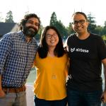'I School Innovators' and alumni Prayag Narula, Holly Liu, and Thejo Kote at an I School event in 2019.