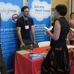 Ben Cohen (MIMS '10), now with Salesforce, talks with student Heather Ford