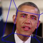 The face of Barack Obama with tracking marks on his features