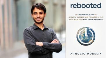 An image of Arnobio Morelix and his book 'Rebooted'