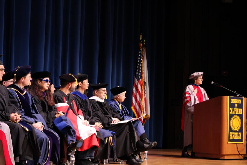 Dean Anno Saxenian speaking at graduation