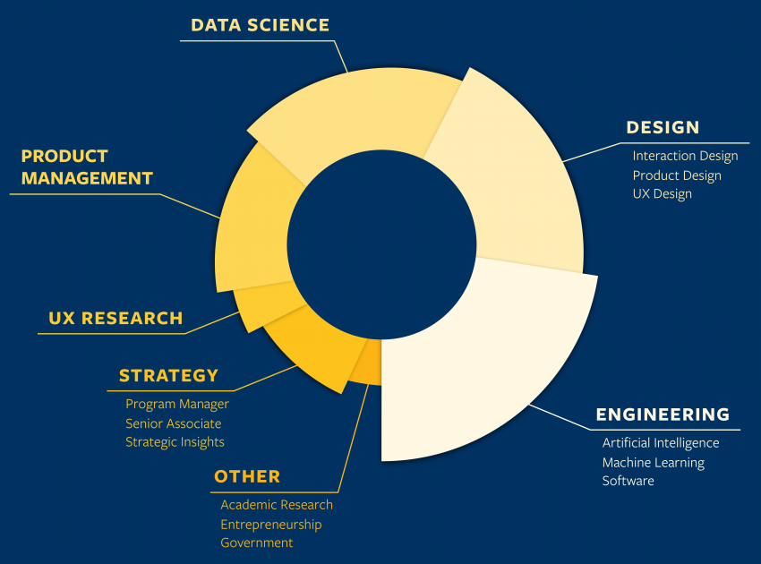 Chart of career fields: Engineering | Design | Data Science | Product Management | UX Research | Strategy | Other