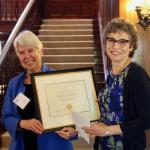 Chancellor Christ awards Dean Saxenian the Berkeley Citation