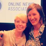 Bailey Smith & Anne Wootton receive the Knight News Challenge award at the Online News Association Conference.