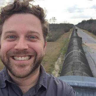Andrew Larimer at the LIGO Gravitational Wave Observatory in Livingston, LA