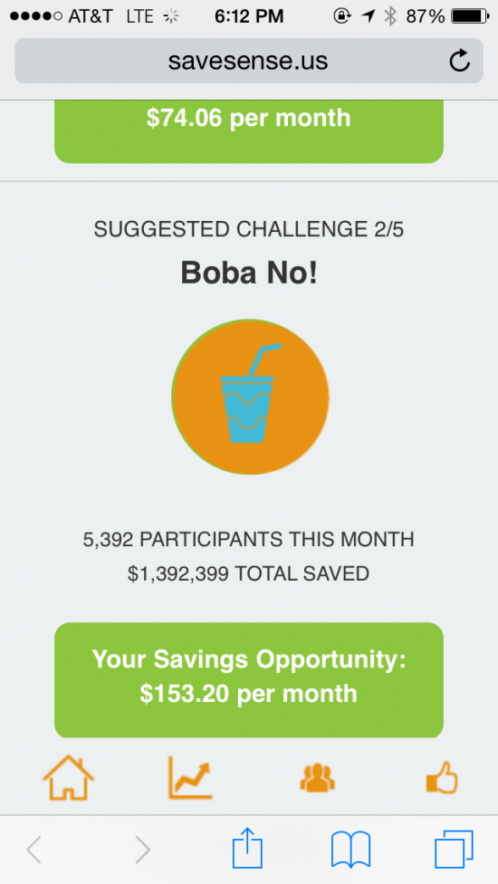 Sample challenges included going a month without buying beer or without buying boba tea.