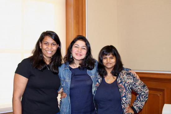 The outgoing 2018-2019 IMSA career relations and alumni chairs (Tanvi Sunku and Vidya), with the incoming 2019-2020 career relations and alumni chair (Sneha Chowdhary)