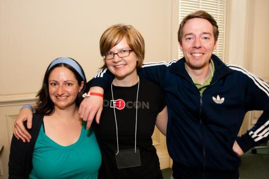 InfoCamp organizers Kimra McPherson, Heather Ford, and Thomas Schluchter (all MIMS 2011)