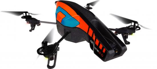 The Parrot AR.Drone 2.0 is a consumer-grade quadcopter — a small helicopter with four rotors.