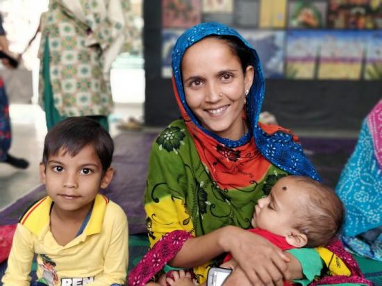 Indian mother with children