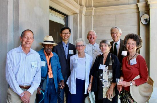 Cristina (far right), and Tim (back row, center) with other Library alumni at an I School celebration in 2019 (School of Information photo by Caitlin Appert-Nguyen)