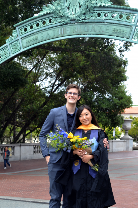 Andrew Bullen and Sharon Lin in front of Sather Gate