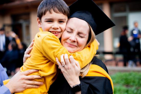 student with child