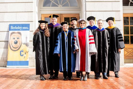 Weber with I School faculty, commencement, May 2019 (Noah Berger)