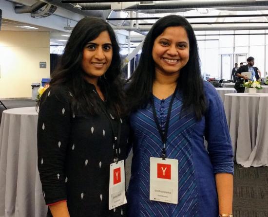 Sneha Sheth & Sindhuja Jeyabal at the Y Combinator Demo Day
