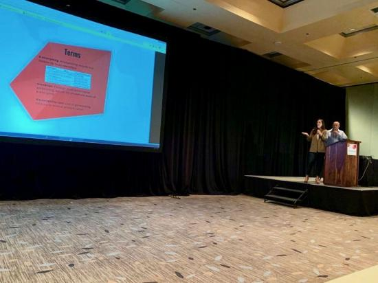 woman and man presenting at technical conference