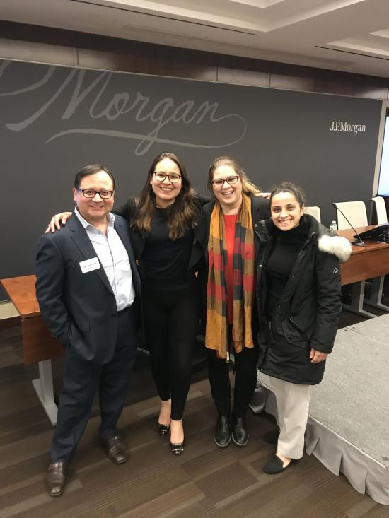 Christina Papadimitriou with colleagues at a JPMorgan PRIDE event; Pictured: 4 people smiling