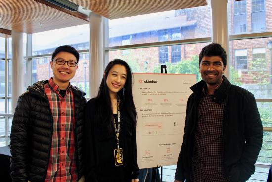 3 MIMS students and their project poster