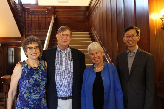 Dean Saxenian, Hal Varian, Chancellor Christ, and John Chuang