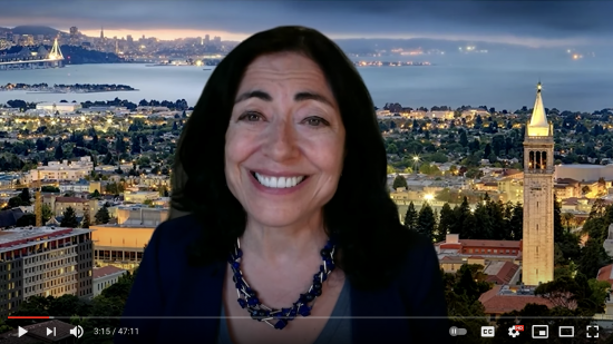 Screenshot of Jennifer Chayes speaking at 2021 Commencement