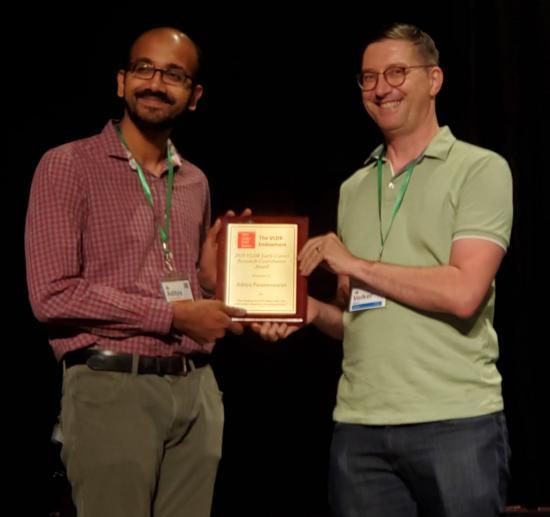 Parameswaran accepts the 2019 VLDB Early Career Research Contributions Award.