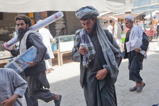 Street scene in Kabul, where phones are ubiquitous