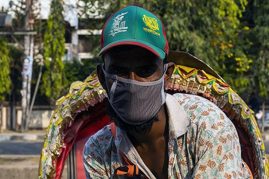 Man in Bangladesh wearing a face mask