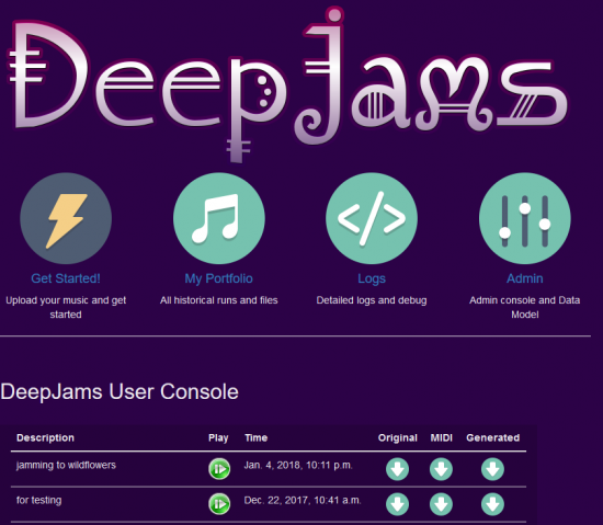 DeepJams allows users to augment traditional music compositions with model-generated extensions. We use a neural network trained on a genre corpus to extend the gist of the user's composition with the inspiration of a thousand others.