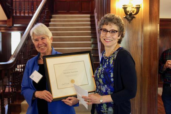 Chancellor Christ awards Dean Saxenian the Berkeley Citation