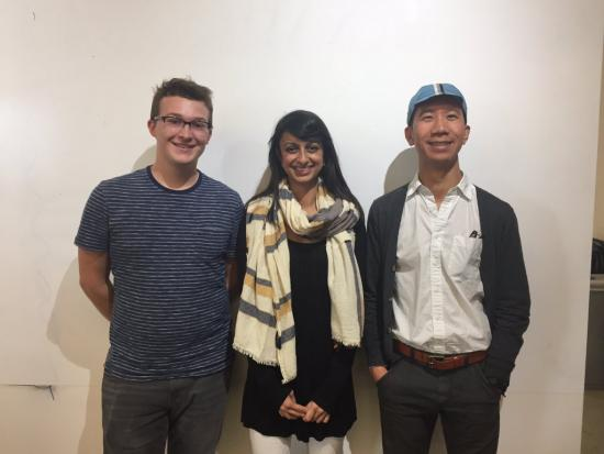 Nisha Pathak (MIMS '18, center) with her hackathon teammates.