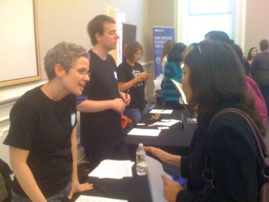 Maggie Law (MIMS '03, at left) represented Salesforce at the recent career fair.