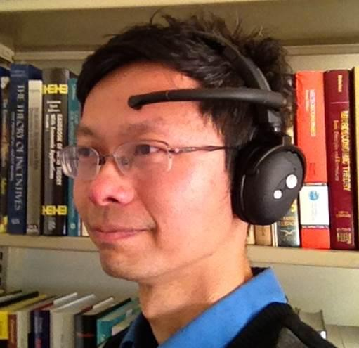Professor John Chuang with the Neurosky MindSet brainwave sensor