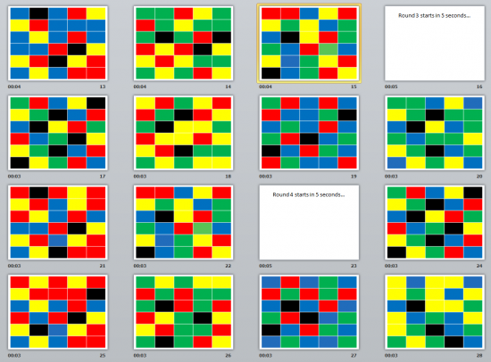 Students were presented with a timed sequence of images with colored rectangles arranged in a 5x6 matrix.