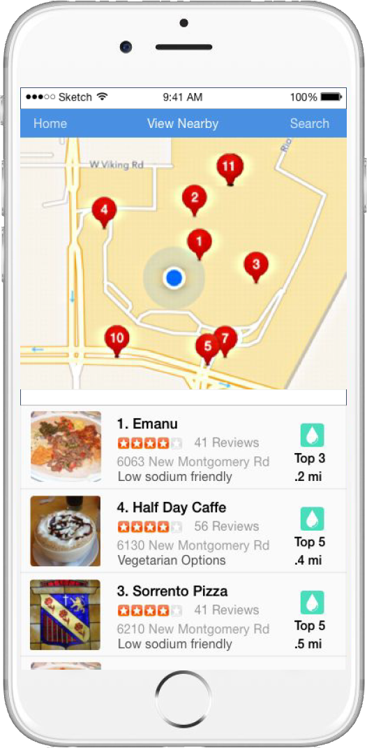 The app D! helps users locate restaurants with diabetic-friends menus.