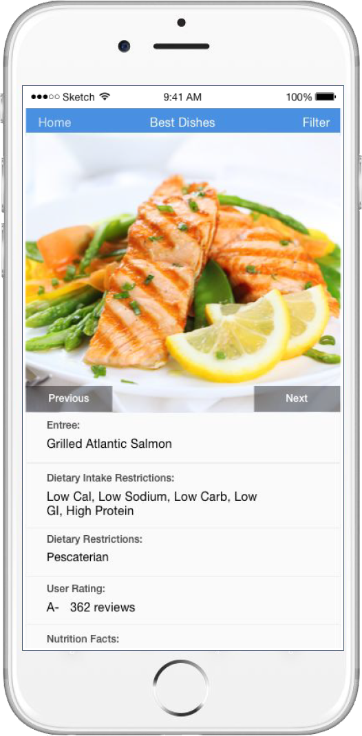 The app D! provides customized restaurant menu information and recommendations for users with diabetes.
