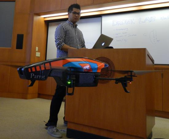 Eight I School students are becoming familiar with drones' capabilities and imagining their future applications.