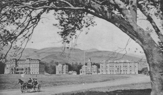 The University of California campus viewed from the southwest with a one horse carriage or buggy in the foreground.