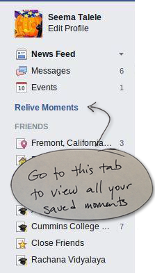 """Facebook users can go to the """"Relive moments"""" tab to view all of their saved posts."""