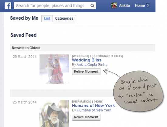 A single click on a saved post lets the user relive it in its original social context.